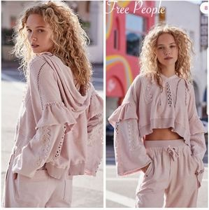 Free People Pink Cropped Heartbeat Hoodie NWT